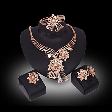 Naisten Kristalli Synteettinen timantti Kukka-aihe Ylellisyys Kukka Kukkaset Häät Party Tekojalokivi Gold Plated 18K kulta