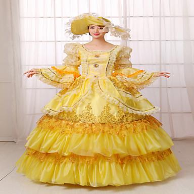 Badedrakt/Kjoler Klassisk og Tradisjonell Lolita Steampunk® Victoriansk Cosplay Lolita-kjoler Ensfarget Langermet Lang Lengde Kjole Hatt