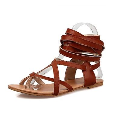 בגדי ריקוד נשים נעליים דמוי עור אביב קיץ גלדיאטור שטוח ל קזו'אל בָּחוּץ שמלה לבן שחור חום