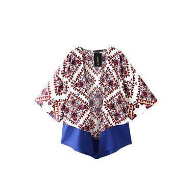 דפוס צווארון עגול פשוטה יום יומי\קז'ואל חולצה שרוול ארוך דק כותנה