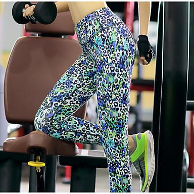 בגדי ריקוד נשים ייבוש מהיר נושם דחיסה חומרים קלים תומך זיעה מכנסיים תחתיות ל יוגה פילאטיס כושר גופני ספורט פנאי ריצה טרילן צמוד הדפס נמר