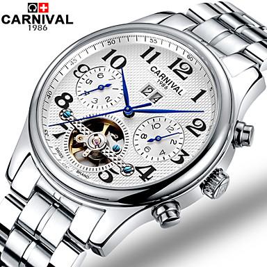 Carnival Masculino Relógio Esqueleto Automático - da corda automáticamente Gravação Oca Aço Inoxidável Banda Branco