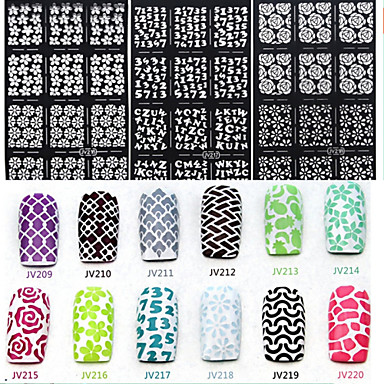 6 Adesivos para Manicure Artística Diecut Manicure Stencil Autocolantes de Unhas 3D Abstracto maquiagem Cosméticos Designs para Manicure