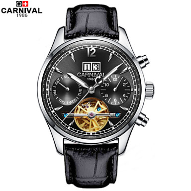 Carnival 남성 스켈레톤 시계 오토메틱 셀프-윈딩 중공 판화 가죽 밴드 블랙