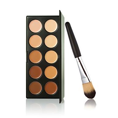 10 צבעים חדשים צבעים קונסילר איפור קונטור קרם פנים + מברשת הפודרה