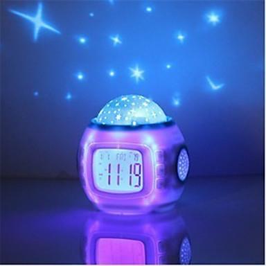 música céu estrelado digitais calendário despertador projeção projetor LED