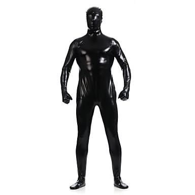 Skinnende Zentai Drakter Ninja Zentai Cosplay-kostymer Svart Ensfarget Trikot / Heldraktskostymer Zentai Spandex Skinnende Metallisk Herre Dame Halloween / Høy Elastisitet
