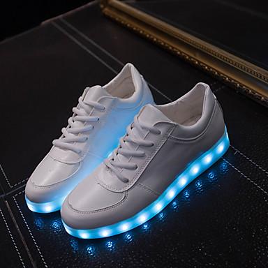 Naiset Miehet Kengät Tekonahka Kevät Kesä Syksy Välkkyvät kengät Tasapohja Solmittavat varten Urheilullinen Kausaliteetti Valkoinen