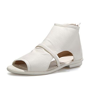 샌달-야외 / 드레스 / 캐쥬얼 / 파티/이브닝-여성의 신발-토오픈-레더렛-플랫-블랙 / 화이트