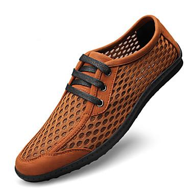 Miehet kengät Nahka Tyll Kevät Kesä Syksy Talvi Comfort Oxford-kengät Solmittavat Käyttötarkoitus Kausaliteetti Musta Ruskea