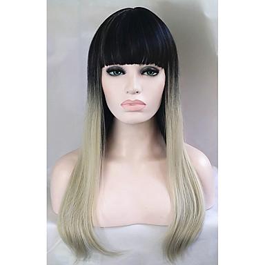 Συνθετικές Περούκες Ίσιο Συνθετικά μαλλιά Μαλλιά με ανταύγειες Περούκα Γυναικεία Μακρύ Χωρίς κάλυμμα