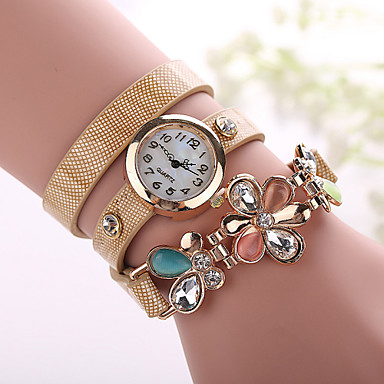 Xu™ Dame Moteklokke Armbåndsur Quartz Imitasjon Diamant PU Band Blomst Svart Hvit Blå Rød Oransje Brun Grønn Beige