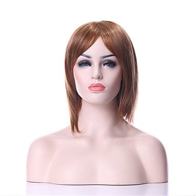 Fashion High Quality Light Brown Middle Long Straight Synthetic Hair Wig for Party&Daily