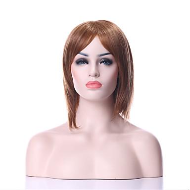 Kadın Sentetik Peruklar Bonesiz Orta Düz Kahverengi Doğal Peruk kostüm Peruk