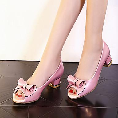Žene Djevojčice Cipele Umjetna koža Proljeće Ljeto Kockasta potpetica Blok pete Mašnica za Zabava i večer Formalne prilike Obala Pink