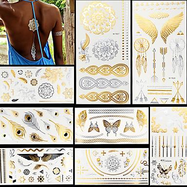 hesapli Güzellik ve Saç-8 pcs Metalik Dövme Etiketleri geçici Dövme Totem Serisi / Hayvan Serileri / Çiçek Serisi Su Geçirmez / Flaş / Dantel body Art Yüz / eller / kol / Parıltı / Temalı / Kristal / Hawaiian / Lower Back