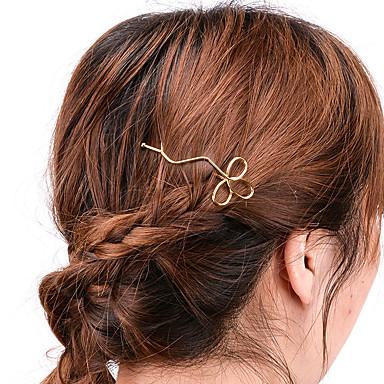 Damen Aleación Haar Clip Silber Golden