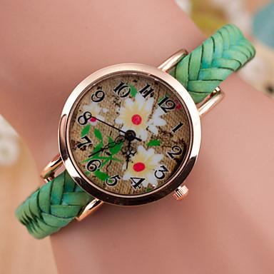 Damen Quartz Armbanduhr Armbanduhren für den Alltag Leder Band Charme Modisch Schwarz Weiß Blau Rot Braun Grün Gelb Mehrfarbig Beige