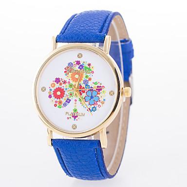Mulheres Relógio de Moda Quartzo Couro Banda Preta Branco Azul Vermelho Marrom Rosa Cáqui