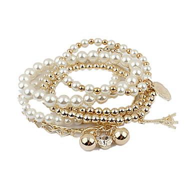 Strang-Armbänder Retro Niedlich Party Büro Freizeit nette Art Modisch Gestapelt Perlenbesetzt Edelstein & Kristall Künstliche Perle