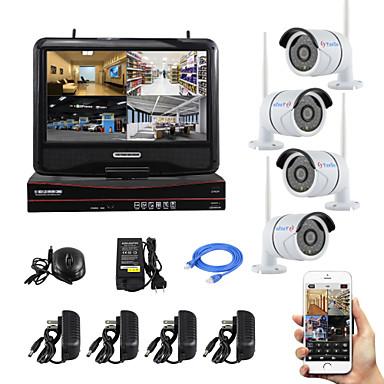 yanse® 10-tommers skjermplugg og spill trådløs nvr-sett p2p 720p hd ir nattesyn sikkerhet ip kamera wifi cctv system