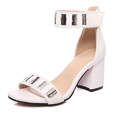 נעלי נשים-סנדלים-דמוי עור-שפיץ ושני חלקים / פתוח-שחור / ורוד / לבן / בורגונדי-חתונה / שמלה / מסיבה וערב-עקב עבה