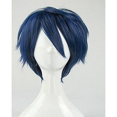 top quality blue cosplay wig synthetic hair wigs man s short curly animated wigs party wigs Halloween