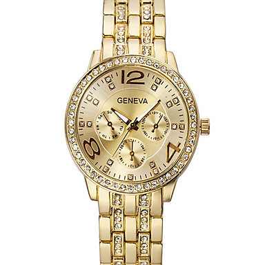 Mulheres Relógio de Moda Simulado Diamante Relógio Quartzo imitação de diamante Aço Inoxidável Banda Prata Dourada Ouro Rose