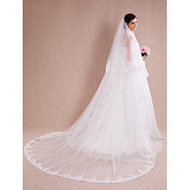 Two-tier Lace Applique Edge Wedding Veil Cathedral Veils 53 Appliques Lace Tulle