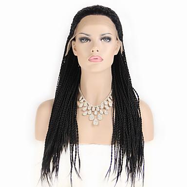 Damen Synthetische Lace Front Perücken Kinky-Curly Geflochtene Perücke Afrikanische Zöpfe Kostümperücke