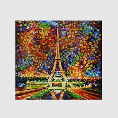 Kézzel festett Landscape / Absztrakt tájképModern / Európai stílus Egy elem Vászon Hang festett olajfestmény For lakberendezési