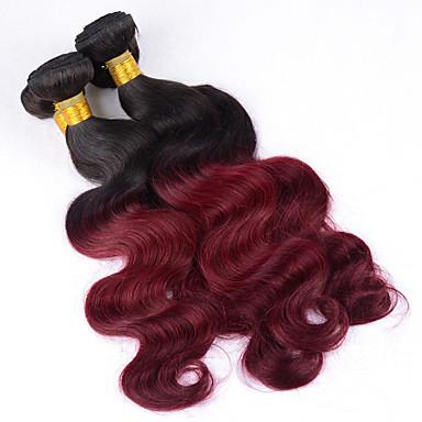 3bundles 12-26inch brazilian bakire saç vücut dalgası ombre renk 1b / 99j işlenmemiş insan saçı örgüleri sıcak satış.