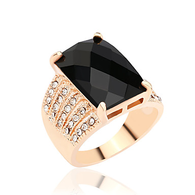 Damen Statement-Ring - Diamantimitate, Aleación Luxus, Modisch, Elegant 7 / 8 / 9 / 10 Schwarz Für Party Alltag Normal / Strass