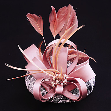 hør blonder fjær satin fascinators headpiece klassisk feminin stil