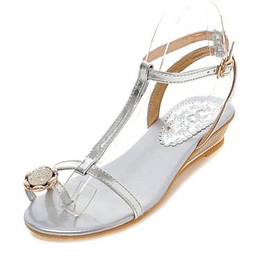 נעלי נשים-סנדלים-חומרים בהתאמה אישית-נוחות-כסוף / זהב-שטח / קז'ואל-עקב שטוח