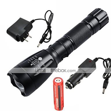 UltraFire פנס LED LED 2200/1000lm 5 מצב תאורה עם סוללה ומטענים מיקוד מתכוונן / נטענת / עמיד במים מחנאות / צעידות / טיולי מערות / שימוש