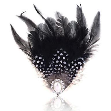 נשים פנינה עור נוצה שחור לבן תכשיטים חתונה Party קזו'אל
