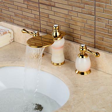 Moderne Udspredt Foss with  Keramisk Ventil To Håndtak tre hull for  Ti-PVD , Bathroom sink tappekran