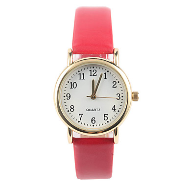 Damen Modeuhr Quartz PU Band Rot