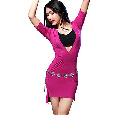 밸리 댄스 드레스 여성용 훈련 모달 정면 분할 1개 짧은 소매 반소매 내츄럴 드레스