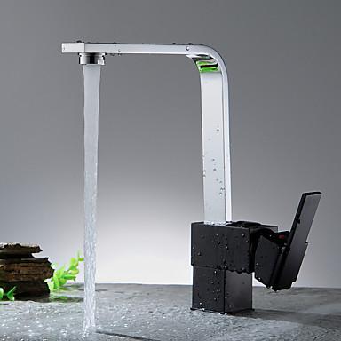 Moderne Wasserfall Keramisches Ventil Einhand Ein Loch Nickel poliert, Armatur für die Küche