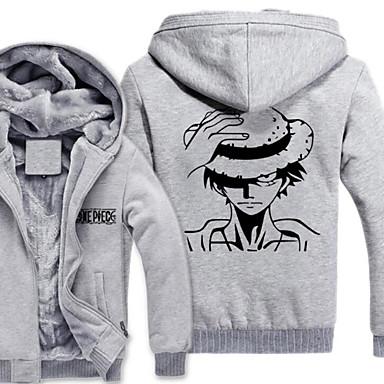Inspiriert von One Piece Monkey D. Luffy Anime Cosplay Kostüme Cosplay Hoodies Druck Langarm Top Für Herrn