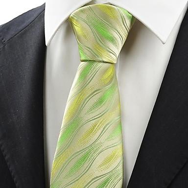 Gravata(Verde / Amarelo,Poliéster)Estampado