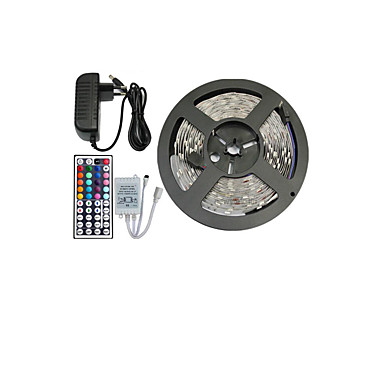 povoljno Dom i vrt-5m Savitljive LED trake / Setovi svjetala / RGB svjetleće trake 150 LED diode 5050 SMD RGB Daljinsko upravljanje / Cuttable / Zatamnjen 12 V / Povezivo / Samoljepljiva / Promjenjive boje / IP44