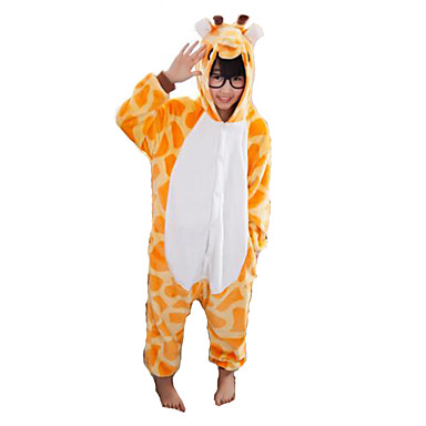Kigurumi Pajamas Giraffe Onesie Pajamas Costume Flannel Toison Orange Cosplay For Children's Animal Sleepwear Cartoon Halloween Festival
