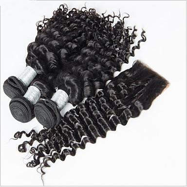 Hiukset kude sulkeminen Syvät aallot 6 kuukautta 4 osainen hiukset kutoo
