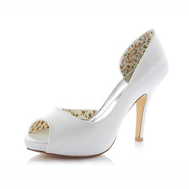 Damen Schuhe Stretch - Satin Frühling Sommer Stöckelabsatz für Hochzeit Kleid Party & Festivität Rosa Champagner Elfenbein