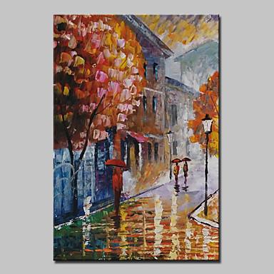 Maalattu Abstrakti / Maisema / Abstraktit maisemakuvatModerni 1 paneeli Kanvas Hang-Painted öljymaalaus For Kodinsisustus