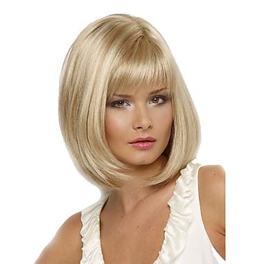 Kvinder Syntetiske parykker Kort Rett Blond Side del Bobfrisyre Med lugg costume Parykker