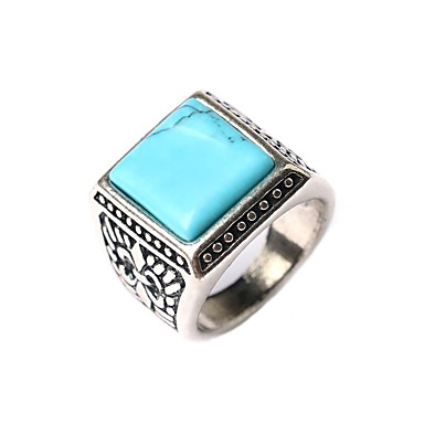 New Vintage Jewelry Women Men's Square-shaped Turquoise Elegant Statement Ring